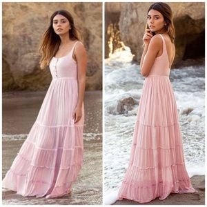 New Joyfolie Mia Joy Blush Tiered Maxi Dress